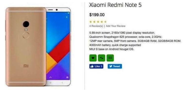 Спецификации Redmi Note 5