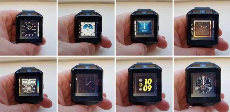 Еще можно выбирать интерфейс часов из множества предустановленных вариантов