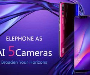 ELEPHONE A5 с 5 камерами и процессором Helio P60 оценили в 230 долларов